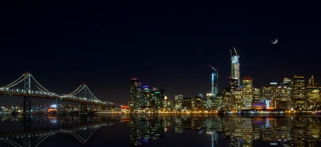 san Francisco Skyline mit Bay Bridge Nachtaufnahme