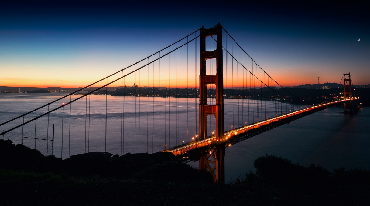 Sonneaufgang Golden Gate Bridge San Francisco Blaue Stunde