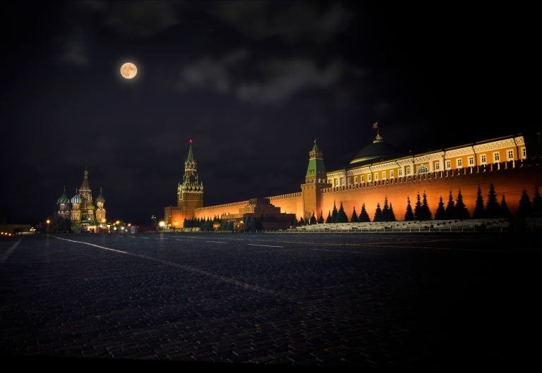 Moskau Roter Platz - Kreml - Vollmond - Blaue Stunde, Moscow Red Square, Kremlin, Nightshot, Golden Hour