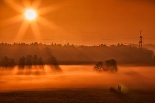Sonnenaufgang vor der Haustür, Oberbayern