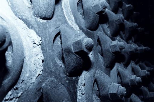 Nachts in der Fabrik - Maschinen der Wolldeckenfarbik, Mangfalltal Ende 1988 (Analog/Film/Scan)